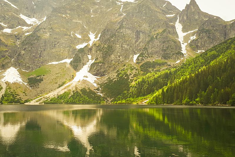 波兰,湖,山脉,风景,水,绿色,地形,自然美,反射,树