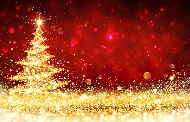 圣诞树,红色,金色,星形,贺卡,式样,水平画幅,形状,无人