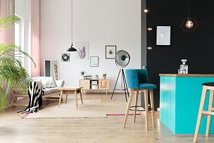 极简构图,蓝色,mini bar,家庭生活,灯,家具,现代,沙发,白色,复式楼
