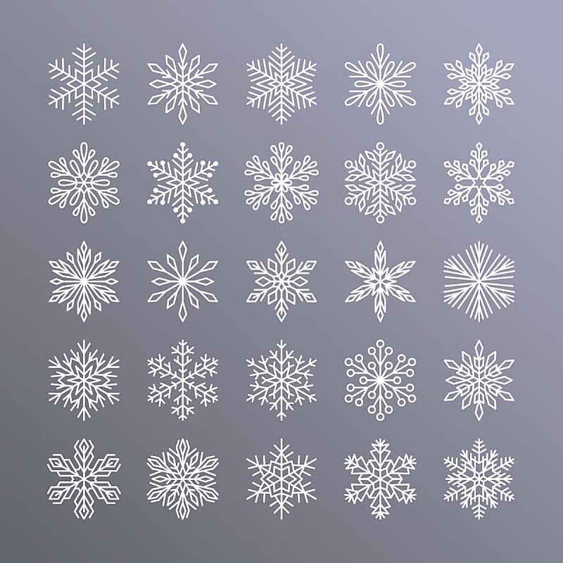 可爱的,贺卡,新年前夕,雪,平坦的,计算机图标,雪花,渐变背景,剪影