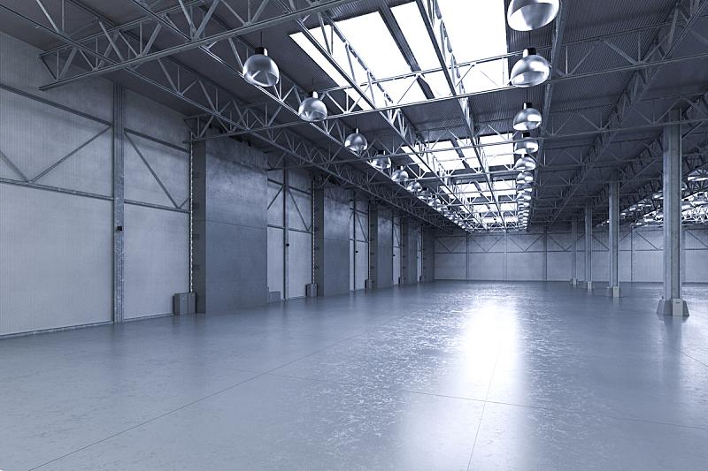 工厂,空的,仓库,水平画幅,工作场所,无人,绘画插图,巨大的,透视图,天花板