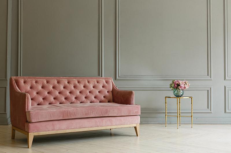 沙发,灰色,粉色,背景,室内,墙,简单,档案,灯,家具