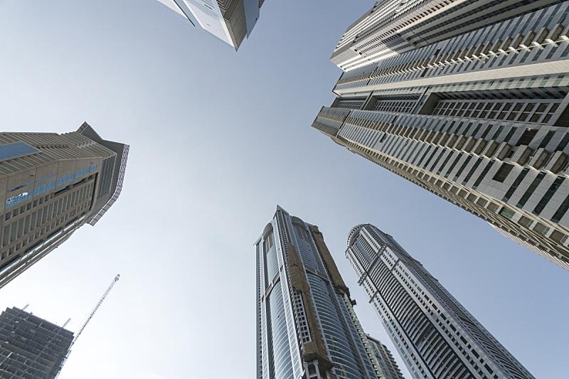 迪拜,cbd,正下方视角,十字路口,低视角,商务,城市生活,波斯湾,现代,著名景点