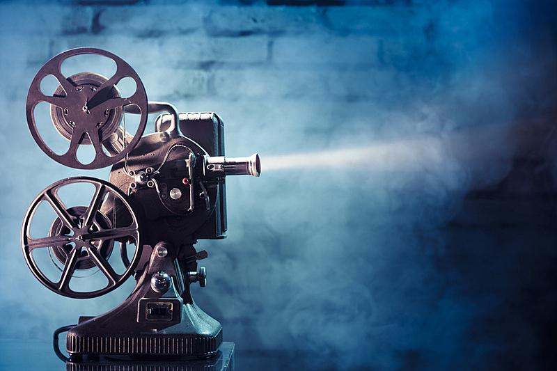 古典式,电影放映机,平衡折角灯,电影,古董,水平画幅,影片,胶卷,古老的,线轴