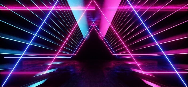 现代,隧道,走廊,背景,三维图形,未来,霓虹灯,紫色,激光,蓝色