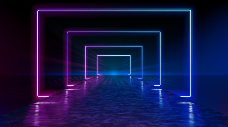 夜晚,矢量,霓虹灯,湿,天空,透明,云,路,平视角,地平线