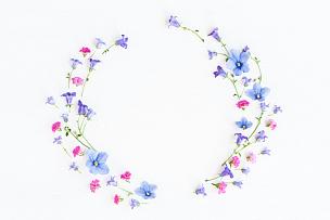 三色紫罗兰,花环,粉色,铃,风铃草属,鲜花盛开,野花,母亲节,周年纪念,春天