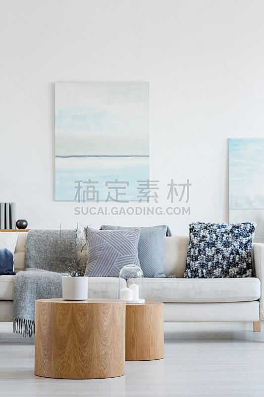 沙发,白色,在之后,枕头,米色,无人,墙,胶水,蓝色,抽象