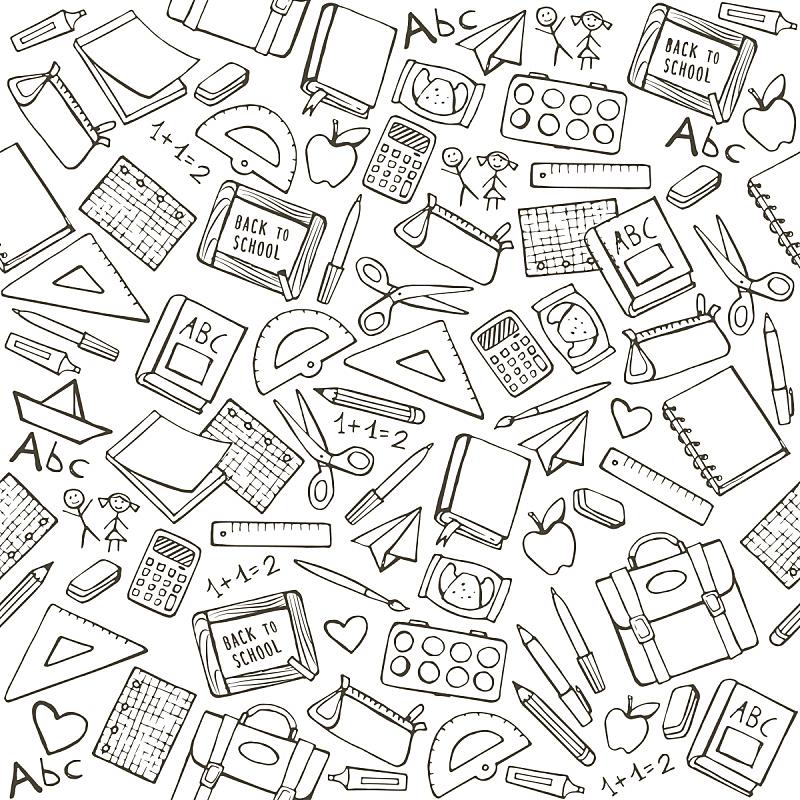 重返校园,绘画插图,字母,几何形状,四方连续纹样,数学,画笔,知识,简笔人物画,书