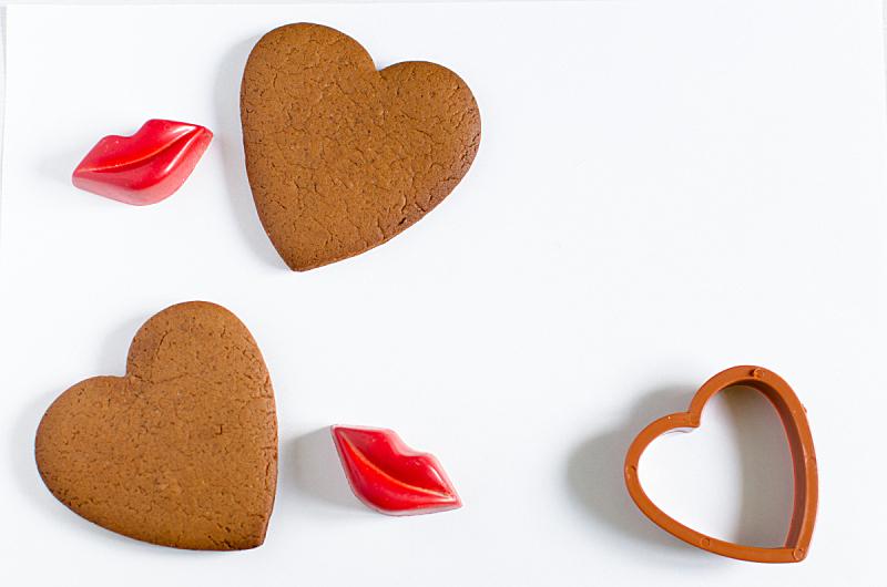 情人节,明信片,口红印,红色,水平画幅,嘴唇,节日,心型,姜饼蛋糕,摄影
