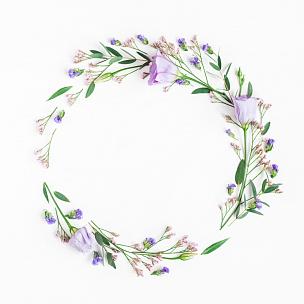 桉树,花环,在上面,枝,平铺,视角,lisianthus,国际妇女节,母亲节,爱沙尼亚