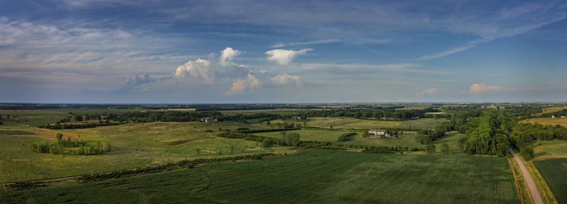 云景,天空,水平画幅,绿色,无人,路,全景,南达科他州,户外,陆地