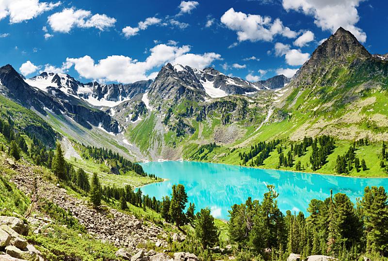 湖,山,水平画幅,岩石,雪,无人,夏天,户外,自然,山谷