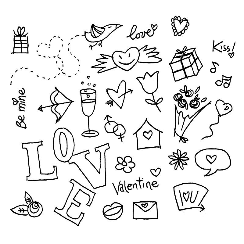 乱画,情人节,口红印,射箭弓,消息,鸟类,气球,玫瑰,音符,仅一朵花