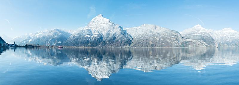 水,湖,山,阿尔卑斯山脉,全景,瑞士,山脉,广州,反射
