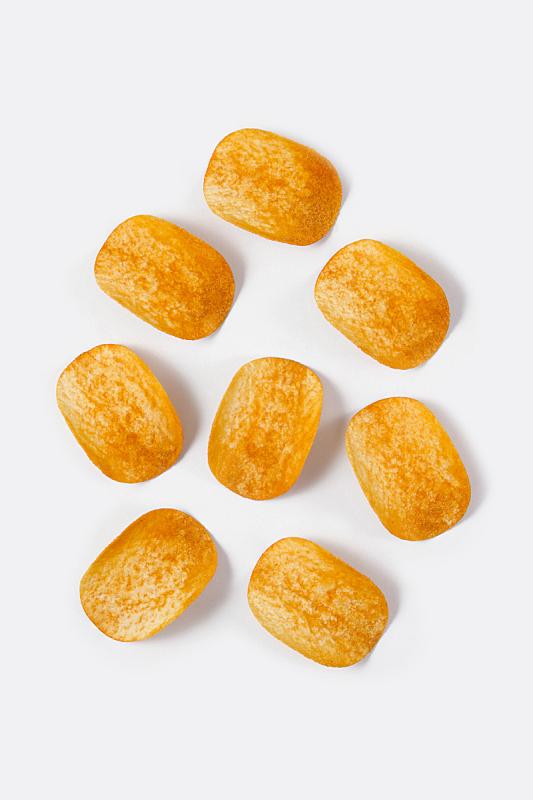 薯片,垂直画幅,高视角,无人,正上方视角,精制土豆,白色背景,香料,组物体,背景分离