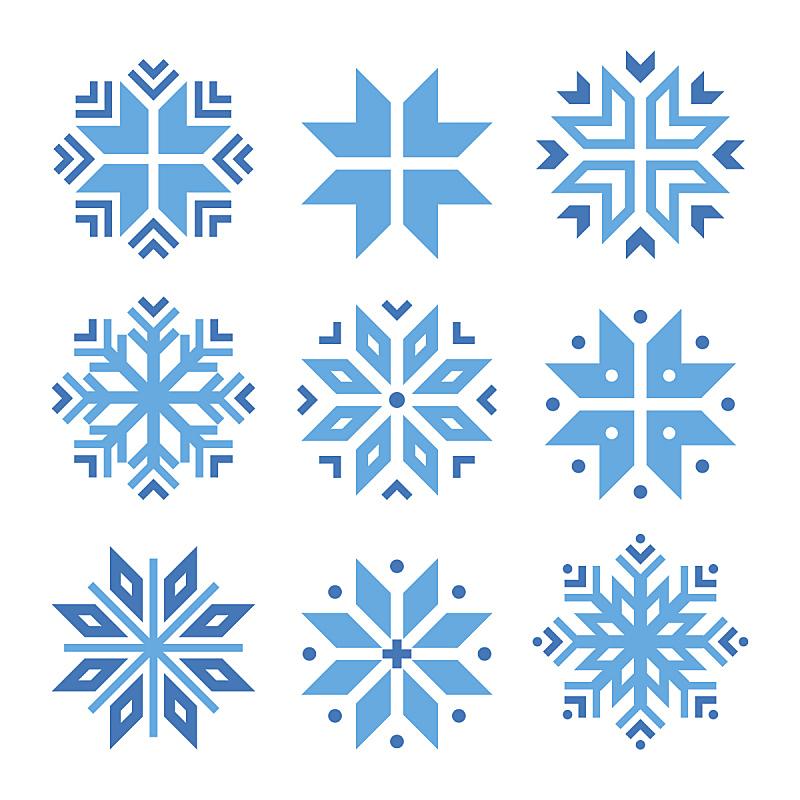 符号,冬天,雪花,矢量,蓝色,冰晶,寒冷,华丽的,贺卡