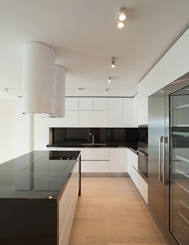 现代,室内,厨房,垂直画幅,新的,墙,无人,抽油烟机,家庭生活,天花板