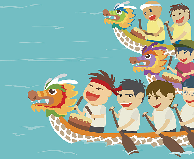 船,儿童,绘画插图,幸福,矢量,龙舟赛,龙舟,端午节,划船比赛,桨