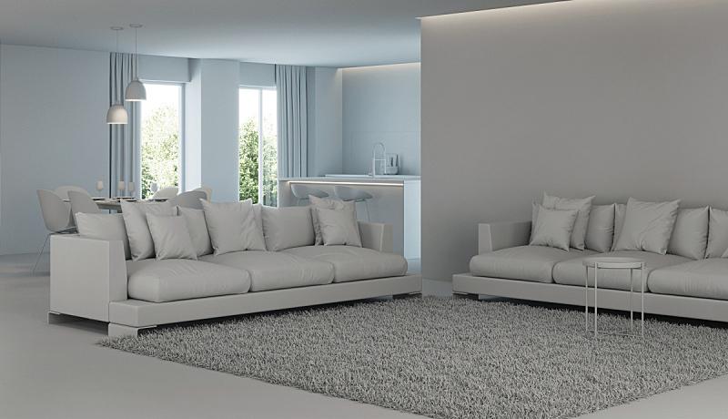灰色,现代,三维图形,房屋,室内,做计划,窗帘,舒服,地板,炊具