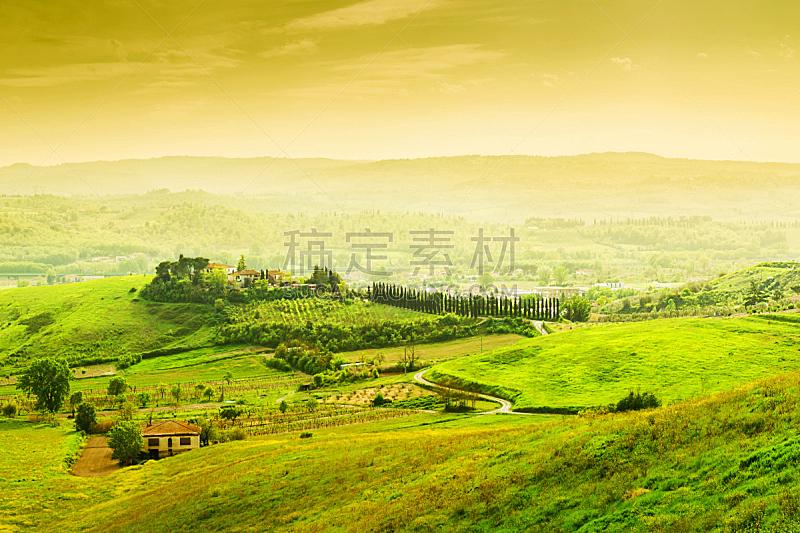 地形,托斯卡纳区,自然美,茅屋屋顶,草皮,旅行者,夏天,草,明亮,放松