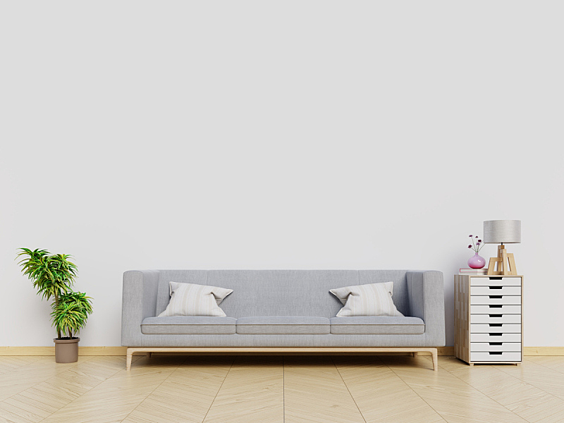 沙发,起居室,极简构图,背景,白色,墙,正面视角,座位,水平画幅,无人