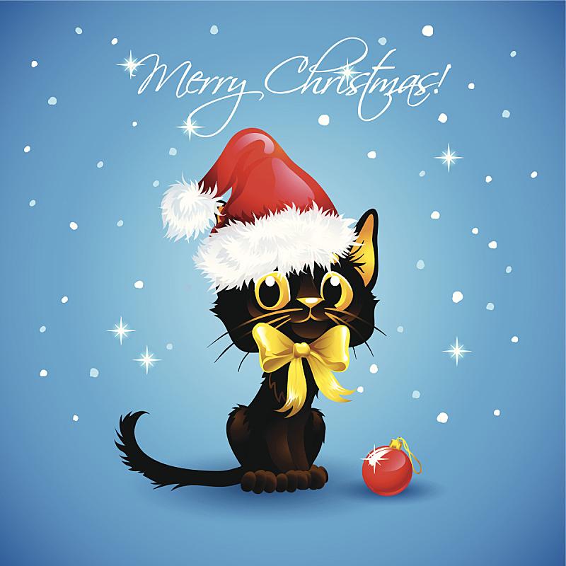圣诞老人,猫,可爱的,衣服,圣诞帽,雪,绘画插图,卡通