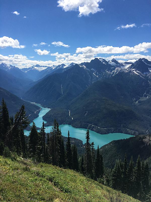 戴布罗坝,湖,北喀斯开山脉,北小瀑布国家公园,玉器,了望塔,自然,垂直画幅,地形,西雅图