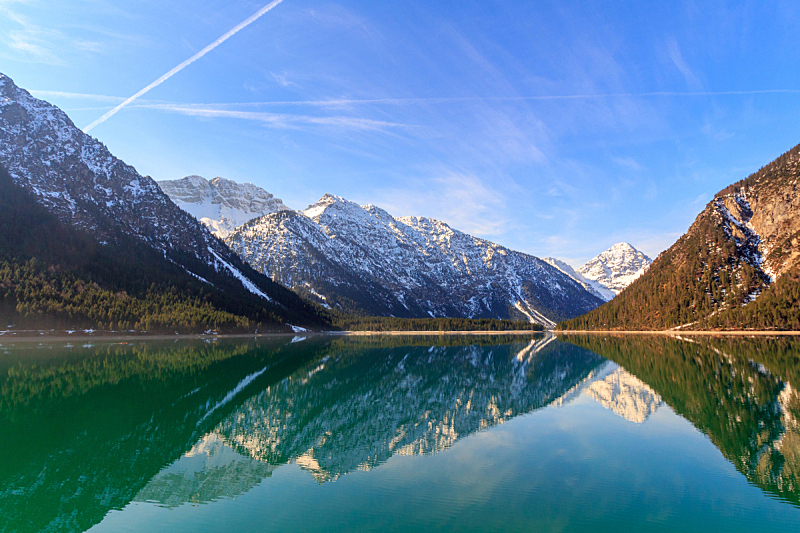 水,湖,奥地利,山,北提洛尔,天空,水平画幅,沙子,雪,无人