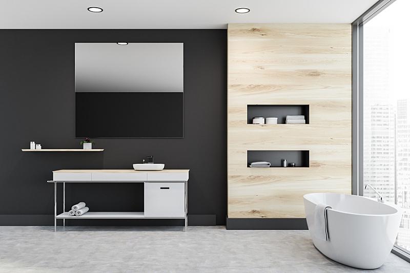 木制,浴室,水槽,灰色,全景,擦洗盆,室内,三维图形,干净,新的