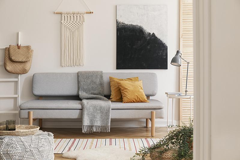 热,空的,灰色,橙色,沙发,白色,舒服,毯子,枕头,墙