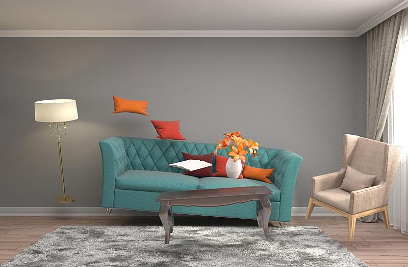 家具,三维图形,起居室,绘画插图,水平画幅,形状,墙,无人,灯,反差
