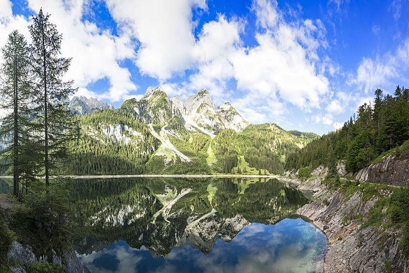 达特施泰因山脉,风景,阿尔卑斯山脉,水,天空,雪,夏天,湖,上奥地利州,奥地利