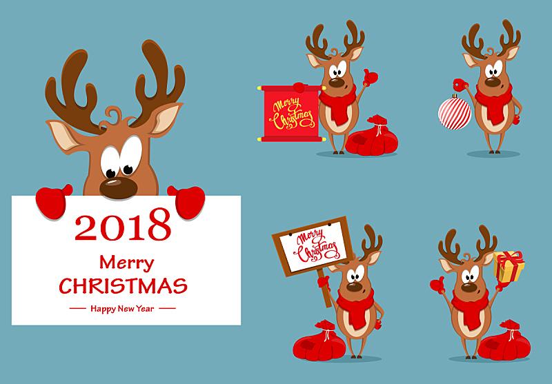 绘画插图,贺卡,矢量,幽默,新的,水平画幅,雪,圣诞树,盒子