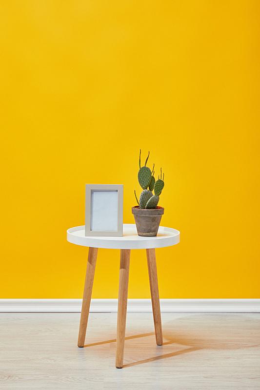 茶几,仙人掌,黄色,边框,墙,空的,清新,花盆,舒服,简单