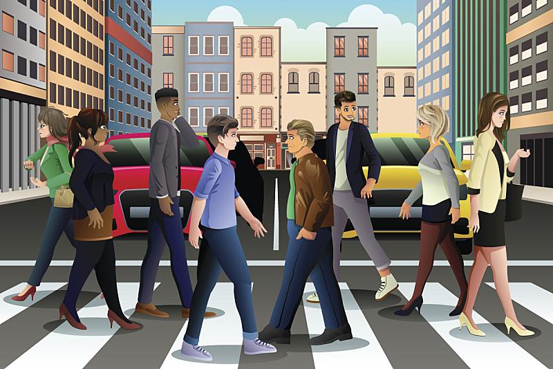 横越,高峰时间,城市,人,街道,人行横道,行人,城市生活,交通,现代