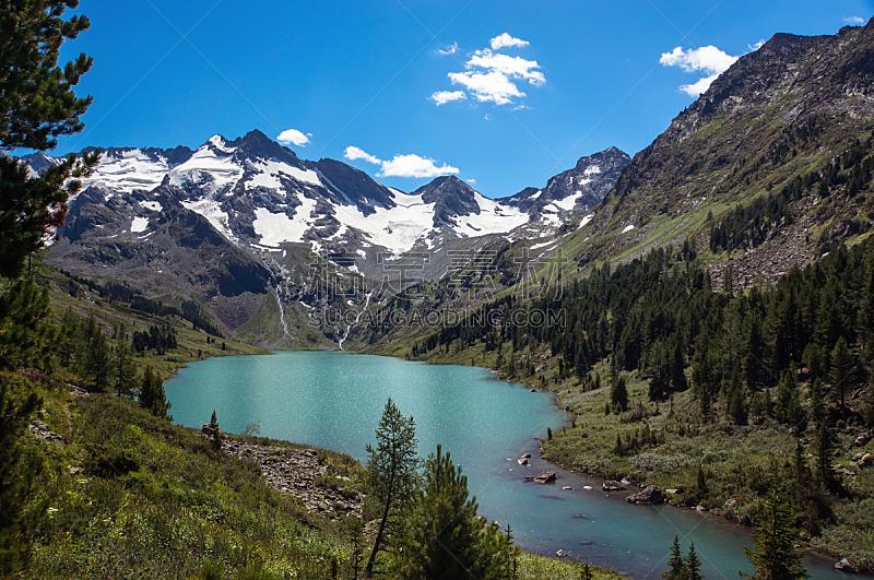 水,湖,风景,透明,青绿色,湖岸,水平画幅,云,无人,在边上