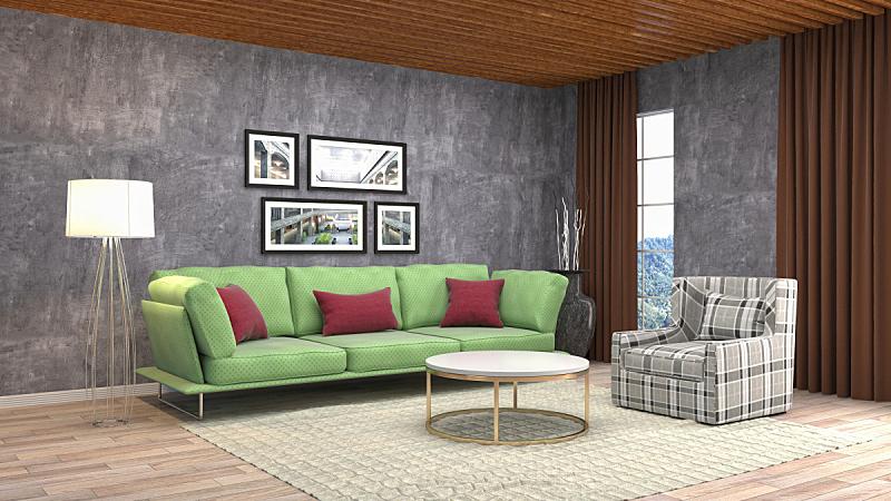 室内,起居室,三维图形,绘画插图,褐色,座位,水平画幅,无人,灯,家具