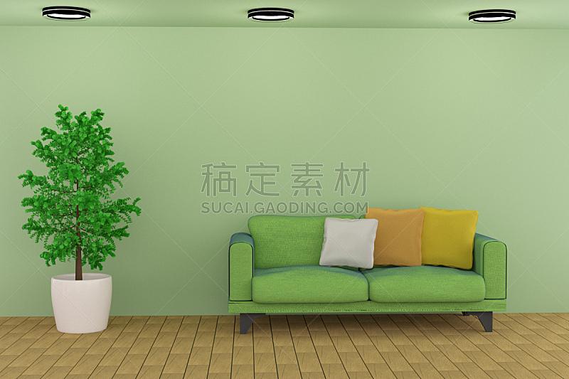 沙发,三维图形,绿色,起居室,水平画幅,形状,无人,家具,现代,植物