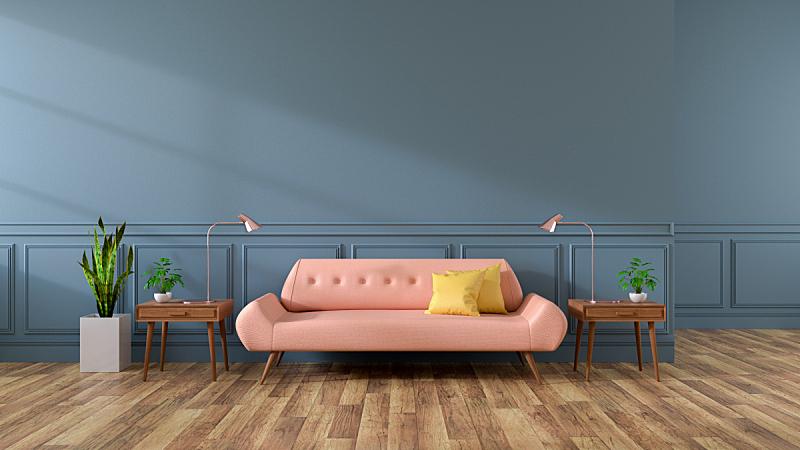 起居室,沙发,硬木地板,现代,室内,墙,粉色,黑色,灰色,三维图形