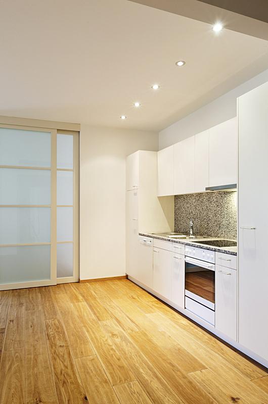 厨房,开放式设计,垂直画幅,美,新的,墙,无人,硬木地板,玻璃,居住区