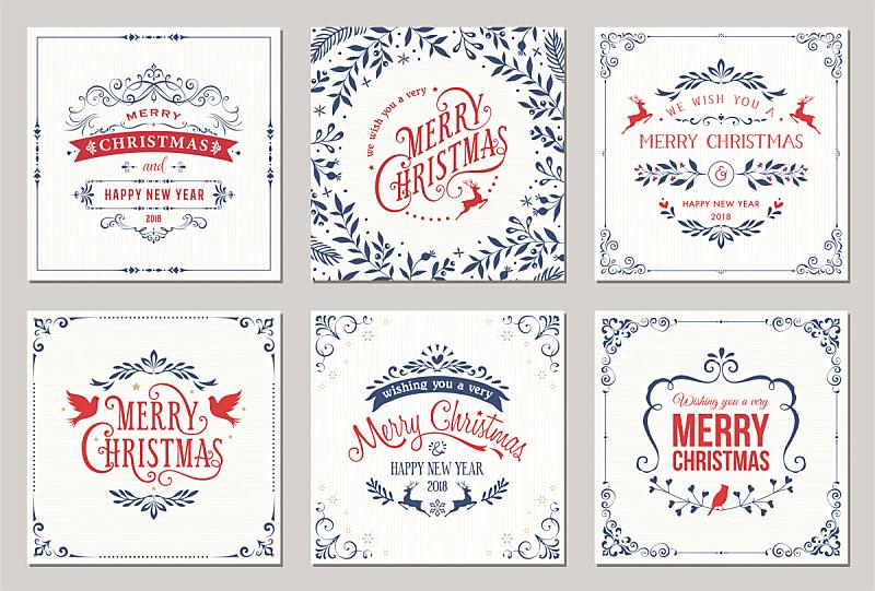 圣诞卡,边框,水平画幅,无人,绘画插图,古典式,标签,组物体,证章