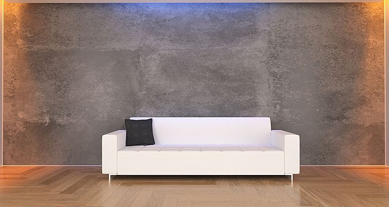 沙发,白色,简单,枕头,混凝土,住宅房间,水平画幅,无人,绘画插图,家具