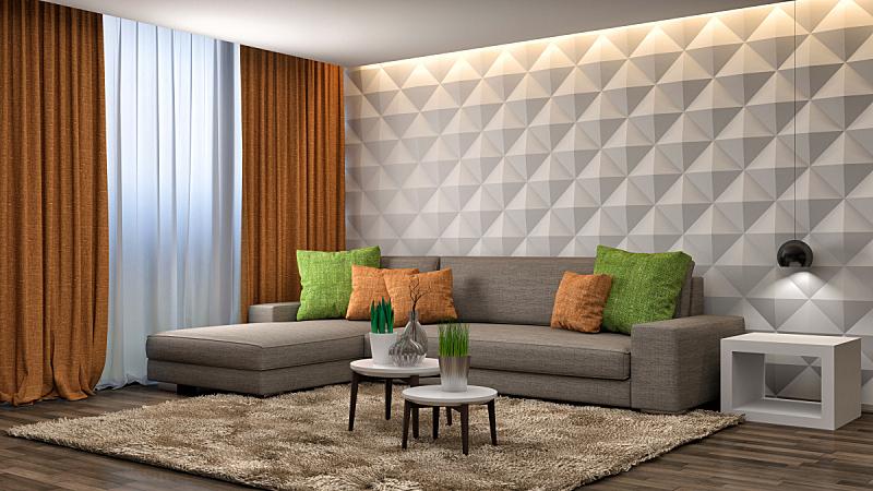 褐色,沙发,室内,绘画插图,三维图形,住宅房间,水平画幅,无人,装饰物,家具