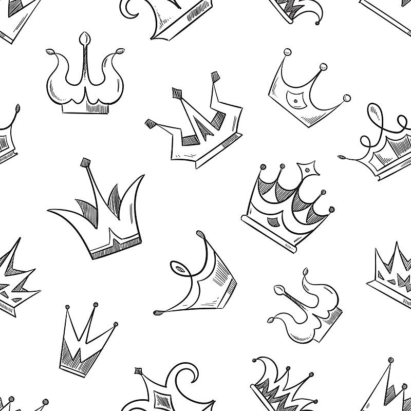 王冠,四方连续纹样,乱画,草图,女王,公主,潦草,绘画插图,覆盖