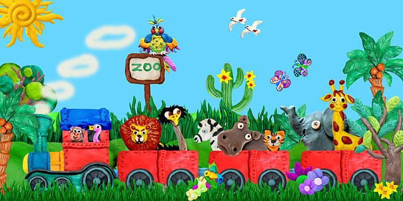 绘画插图,三维图形,动物,旅游目的地,儿女,动物园,艺术,水平画幅,斑马