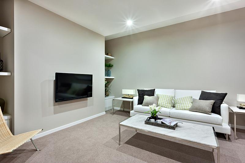 沙发,桌子,白色,起居室,水平画幅,架子,地毯,灯,家具,居住区