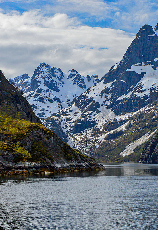 挪威,峡湾,罗弗敦,山,斯堪的纳维亚半岛,海港,云,雪,北欧,海岸线