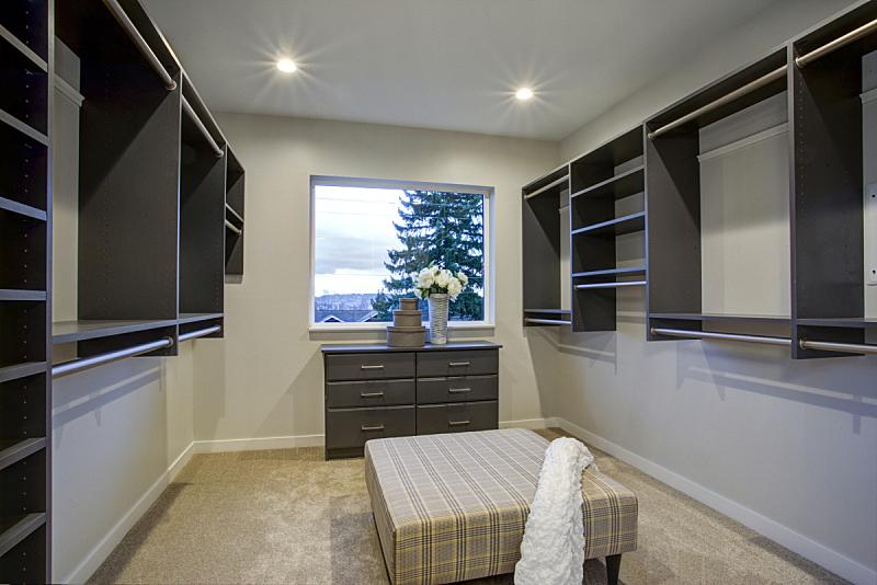 宽的,架子,步入式衣柜,挂衣杆,窗户,褐色,新的,美国,水平画幅,建筑