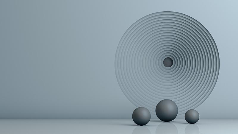 圆形,空的,隧道,墙,人,室内,几何形状,三维图形,球体,灰色